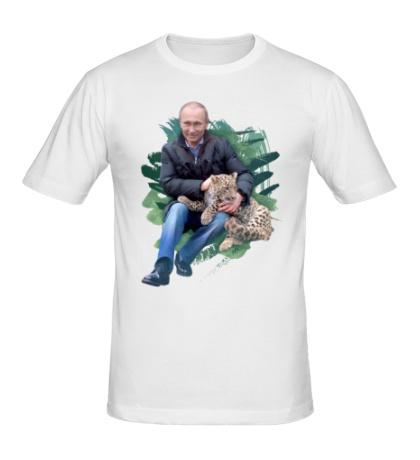 Мужская футболка Путин и леопард