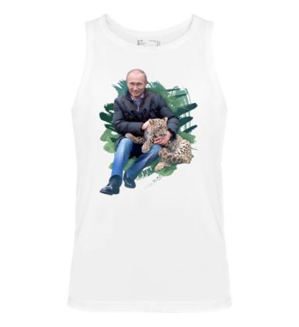 Мужская майка Путин и леопард