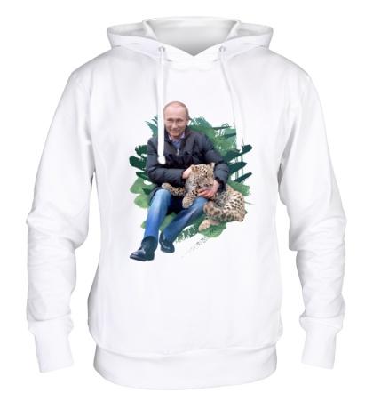Толстовка с капюшоном Путин и леопард