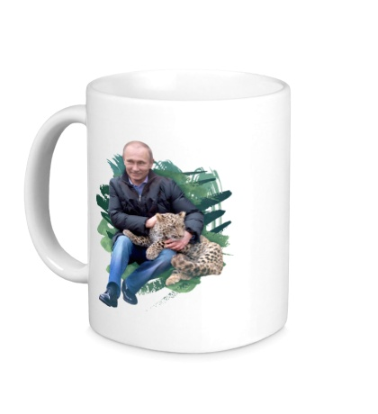 Керамическая кружка Путин и леопард