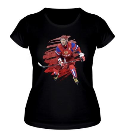 Женская футболка Путин играет в хоккей