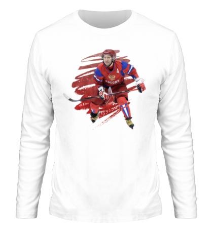 Мужской лонгслив Путин играет в хоккей