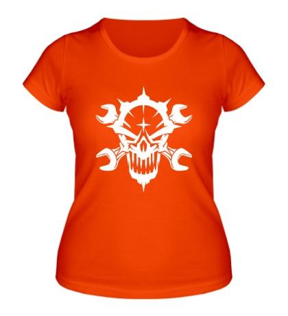Женская футболка Череп механика