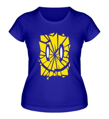Женская футболка Лицо смайл из осколков