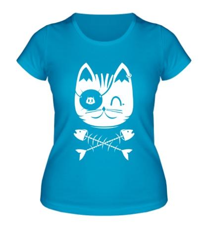 Женская футболка Кошка пират