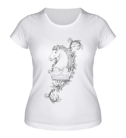 Женская футболка Эскиз коня