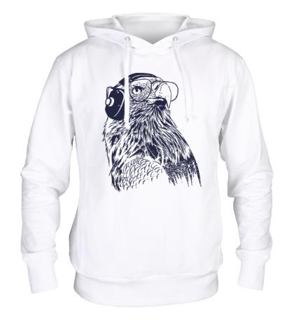 Толстовка с капюшоном Орел в наушниках