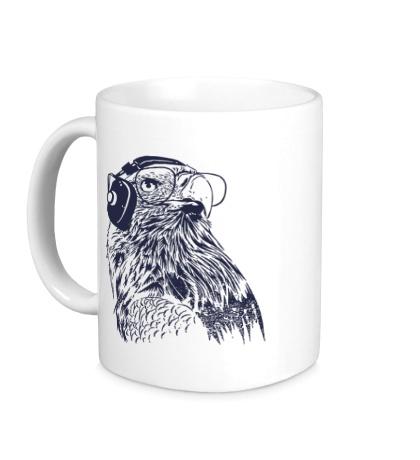 Керамическая кружка Орел в наушниках
