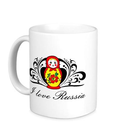 Керамическая кружка Matryoshka: I love Russia