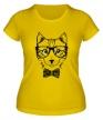 Женская футболка «Кот в очках» - Фото 1