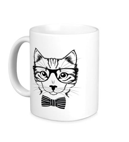 Керамическая кружка Кот в очках
