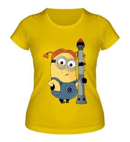 Женская футболка Миньон с гранатомётом