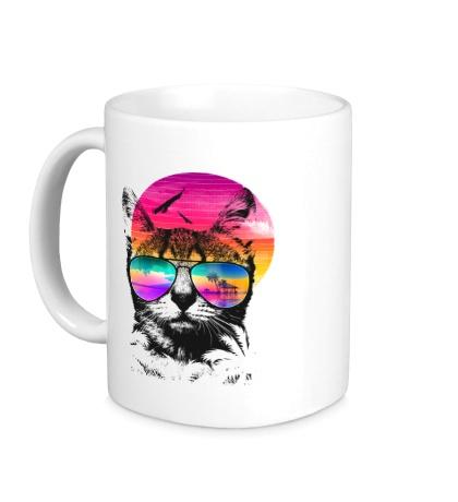 Керамическая кружка Кот в солнечных очках
