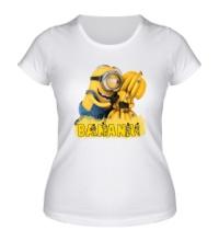 Женская футболка Minions love bananas