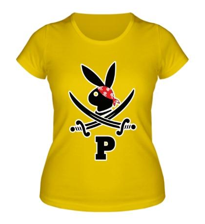 Женская футболка Заяц пират