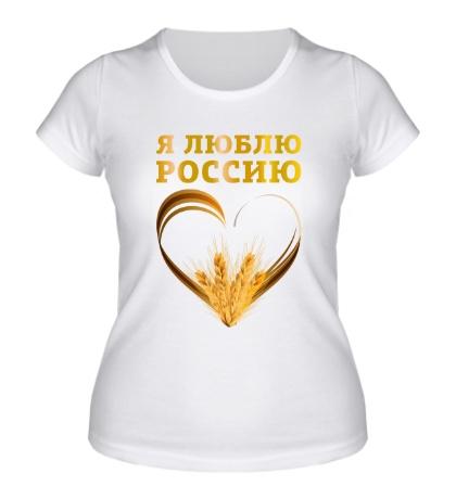 Женская футболка Люблю золотую Россию
