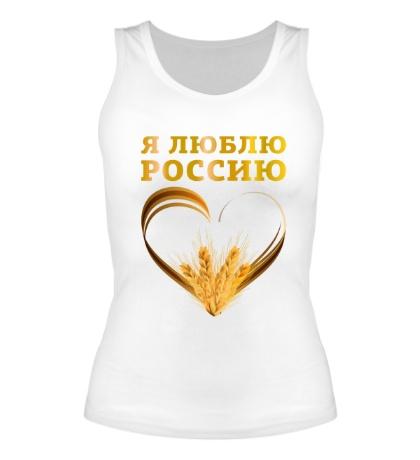 Женская майка Люблю золотую Россию