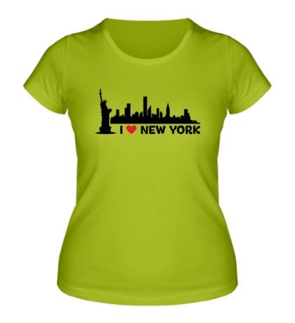 Женская футболка Панорама Нью Йорка