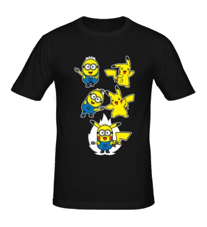 Мужская футболка Пикачу-миньоны