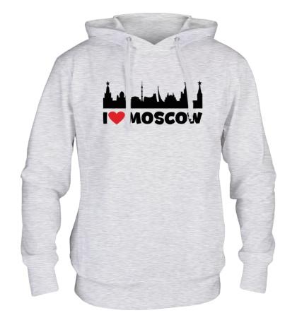 Толстовка с капюшоном Я люблю тебя, Москва
