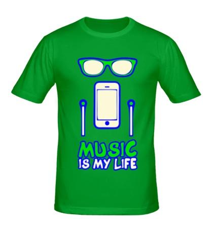 Мужская футболка Music is my Life Glow