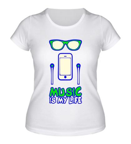 Женская футболка Music is my Life Glow