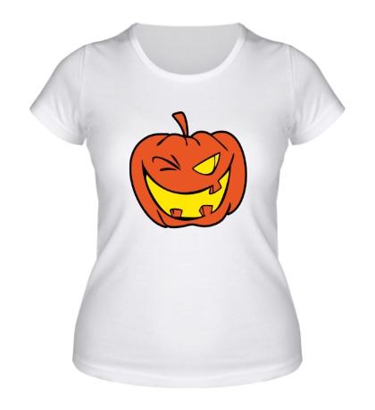 Женская футболка Подмигивающая тыква