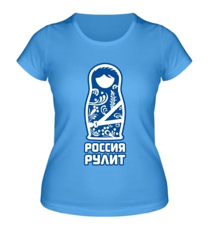 Женская футболка Россия рулит