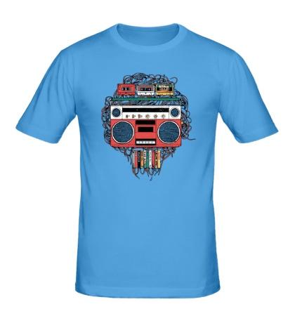 Мужская футболка Векторный магнитофон