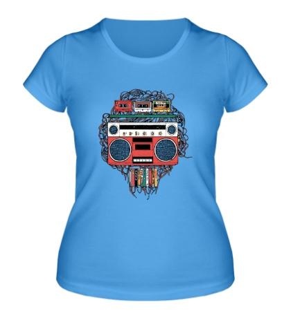 Женская футболка Векторный магнитофон