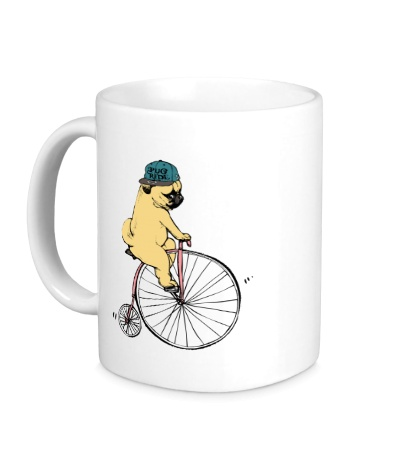 Керамическая кружка Мопс на велосипеде