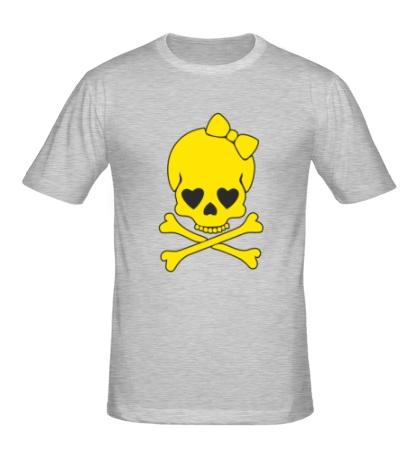 Мужская футболка Череп с бантиком