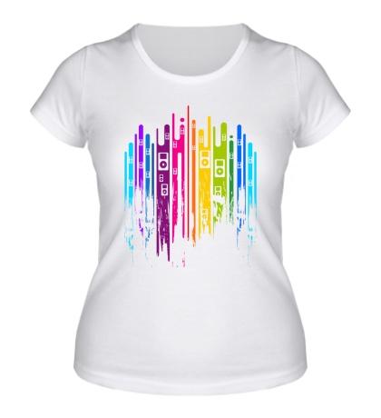 Женская футболка Цвет, это музыка