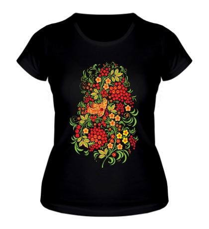 Женская футболка Рябиновая хохлома