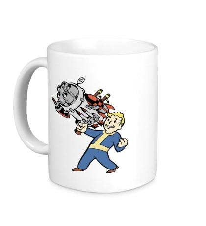 Керамическая кружка Vault boy with a Big Gun