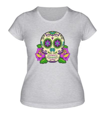 Женская футболка Цветной череп