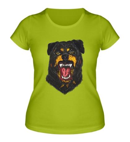 Женская футболка Агрессивный Ротвейлер