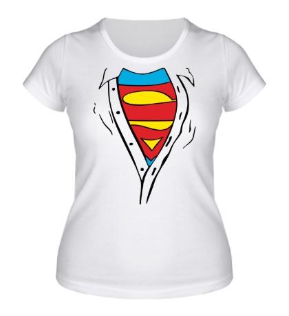 Женская футболка Застенчивый Супермен