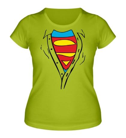 Женская футболка «Застенчивый Супермен»