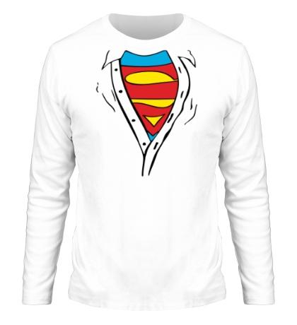 Мужской лонгслив Застенчивый Супермен