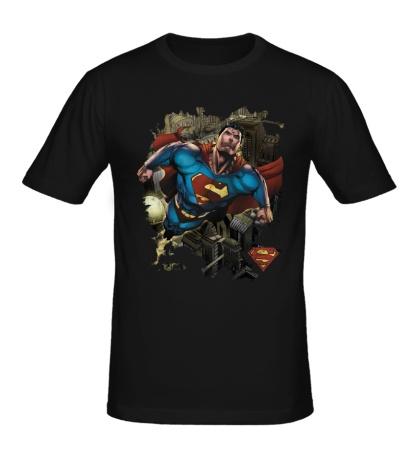 Мужская футболка Superman Over Metropolis