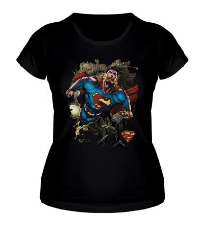 Женская футболка Superman Over Metropolis