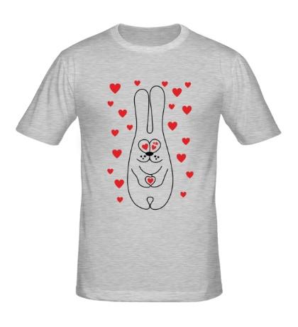 Мужская футболка Зайка с сердечками