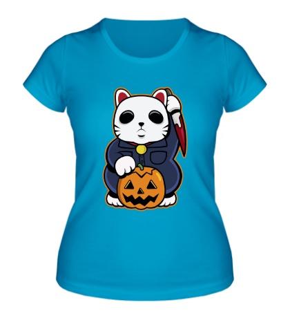 Женская футболка Хеллоуинский кот