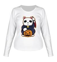 Женский лонгслив Хеллоуинский кот