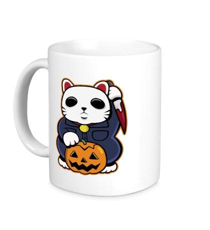 Керамическая кружка «Хеллоуинский кот»