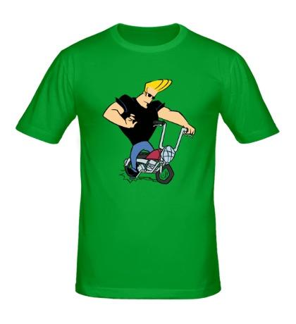 Мужская футболка Johnny Bravo на байке