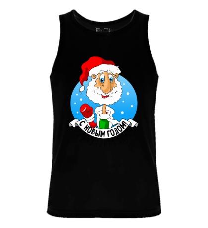 Мужская майка Дед Мороз: с Новым годом