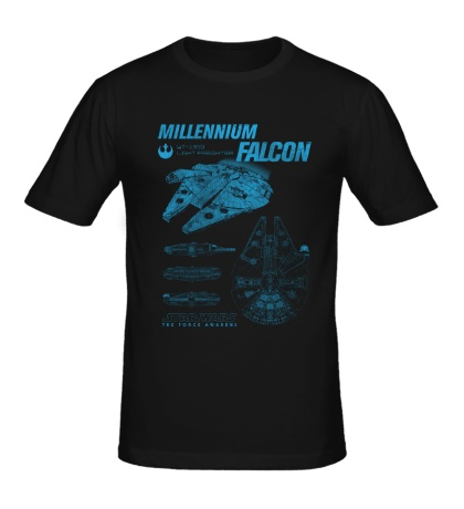 Мужская футболка Millennium Falcon Schematics