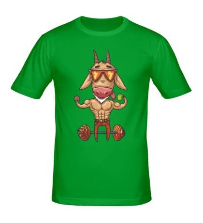 Мужская футболка Козел-бодибилдер